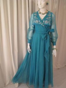 1960's Turquoise silk organza embroidered vintage gown JACK BRYAN **SOLD** es140